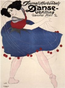 Vintage Journalistforbundets Danse-Udstilling Advertising Poster.